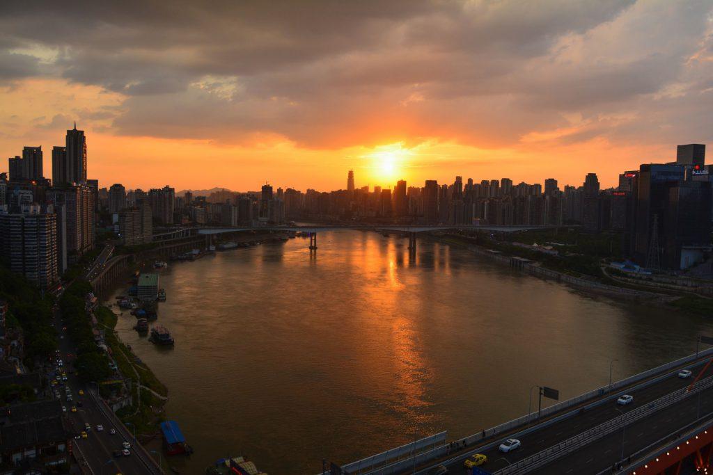 重慶の夕焼け